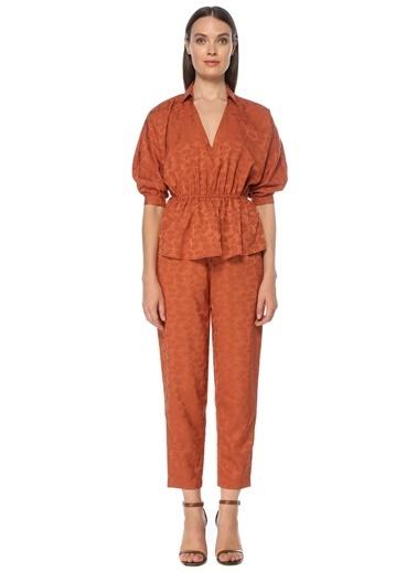 NetWork Kadın 1075392 Desenli Pili Detaylı Pantolon Kahve